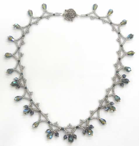 Aqua Crystal Drop choker by Sally Shore Bijoux