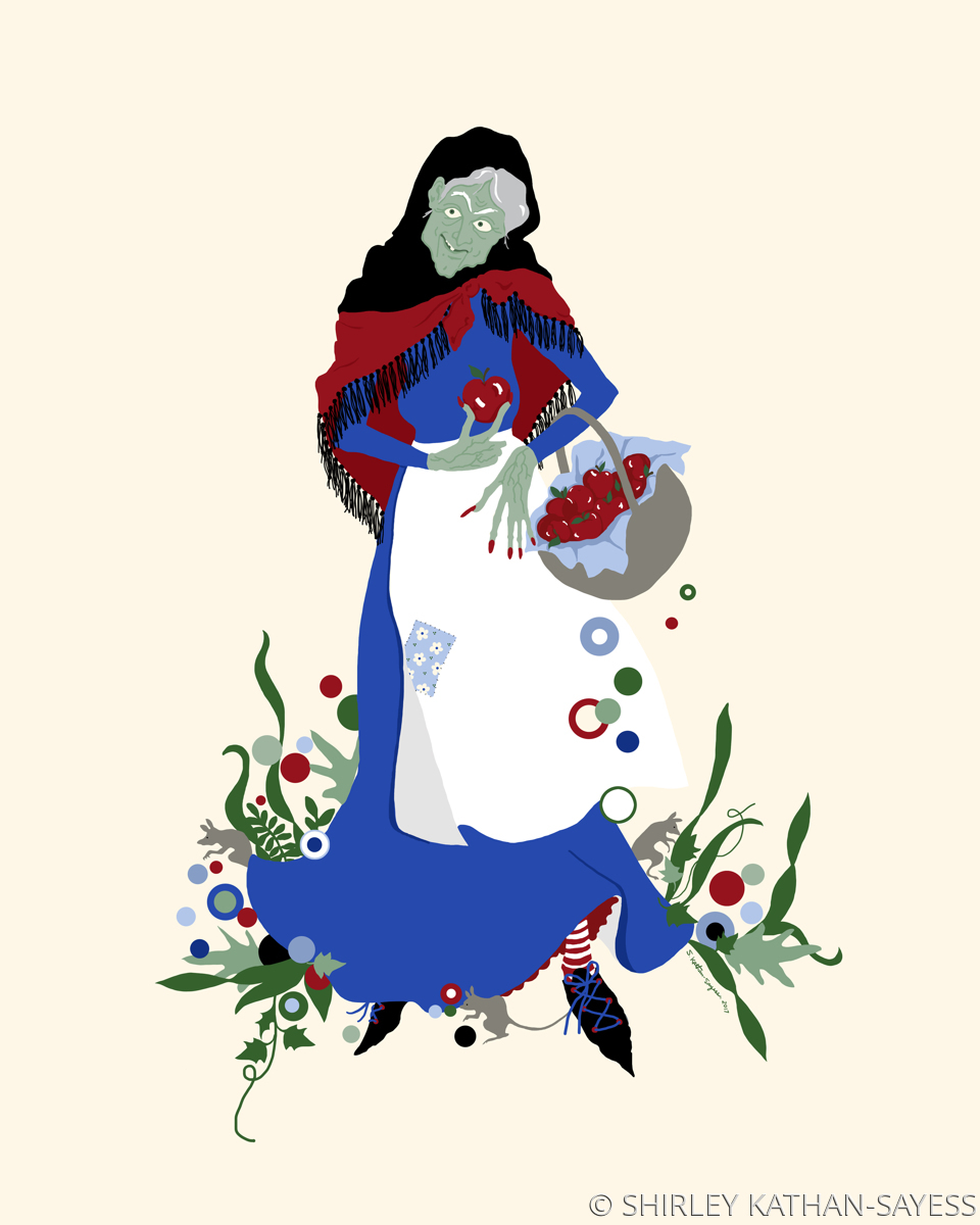 THE WICKED QUEEN AS AN APPLE PEDDLER (large view)
