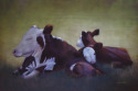 A pastel panting of a mother cow and two babies resting in a green field in the shade on a hot sultry day. (thumbnail)