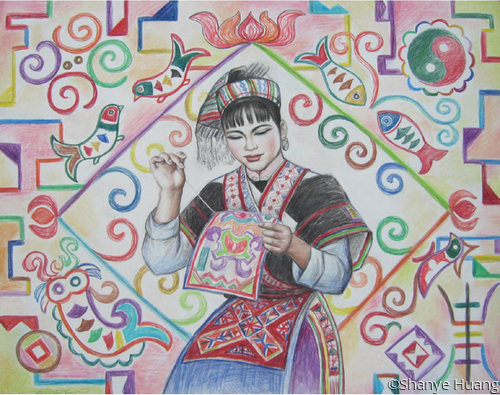 A Miao Girl in Tapestry (large view)