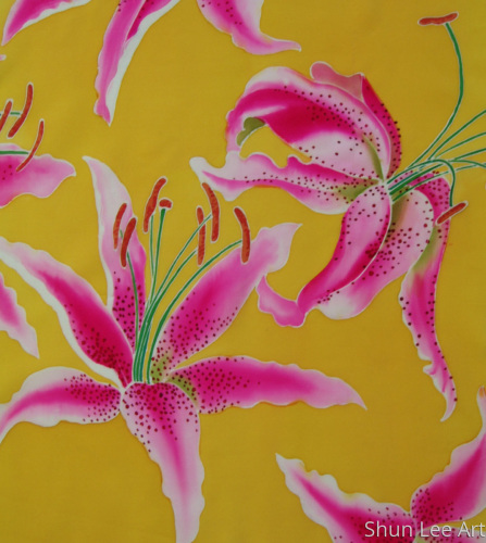 Lily on yellow - painting-on silk- floral