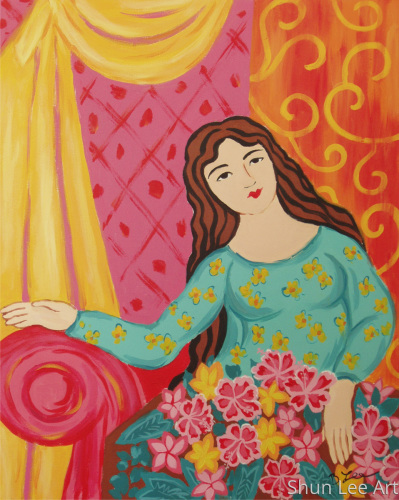Lady with Hibiscus on her lap - painting- Figure paintings