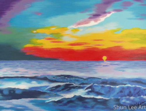 Sunset, the wave is coming - painting - seascape