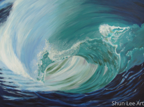 Surfer's Dream- Acrylic-painting-seascape
