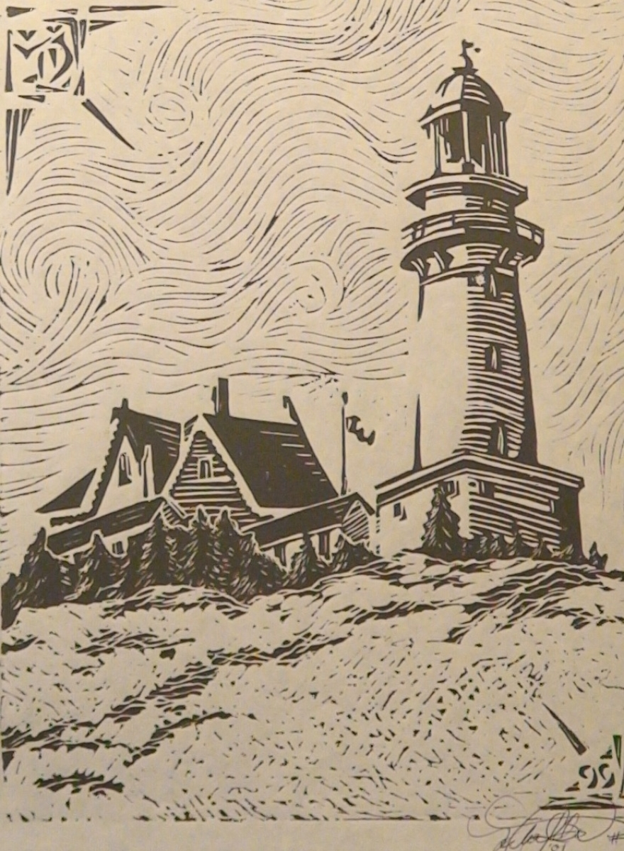 """Printmaking : """"Central Coast Lighthouse"""" (Original Art By"""