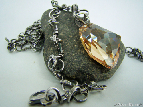 Large Crystal Pendant on Handmade silver chain