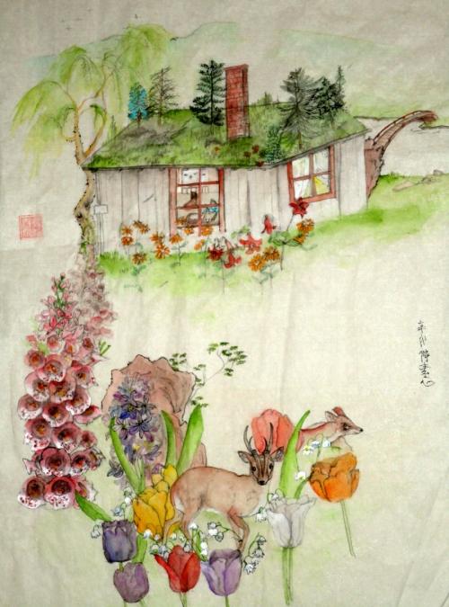 a quiet cottage scene