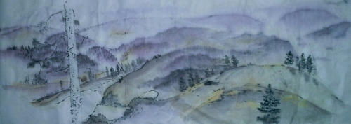landscape shrouded in purple