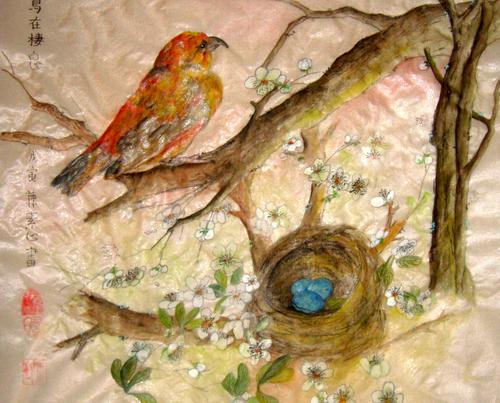 red bird roosts
