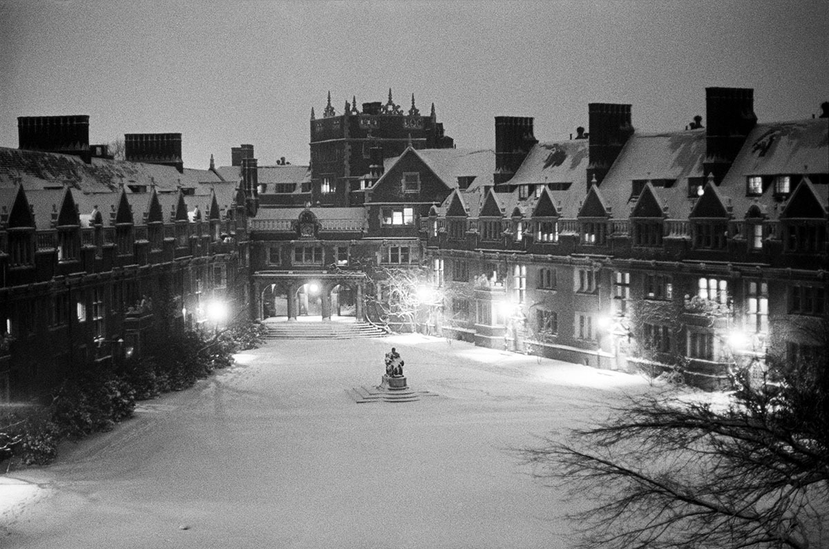 The Quad at Night, Snowfall, University of Pennsylvania Dorms, Philadelphia, PA, Winter, 1967 (large view)