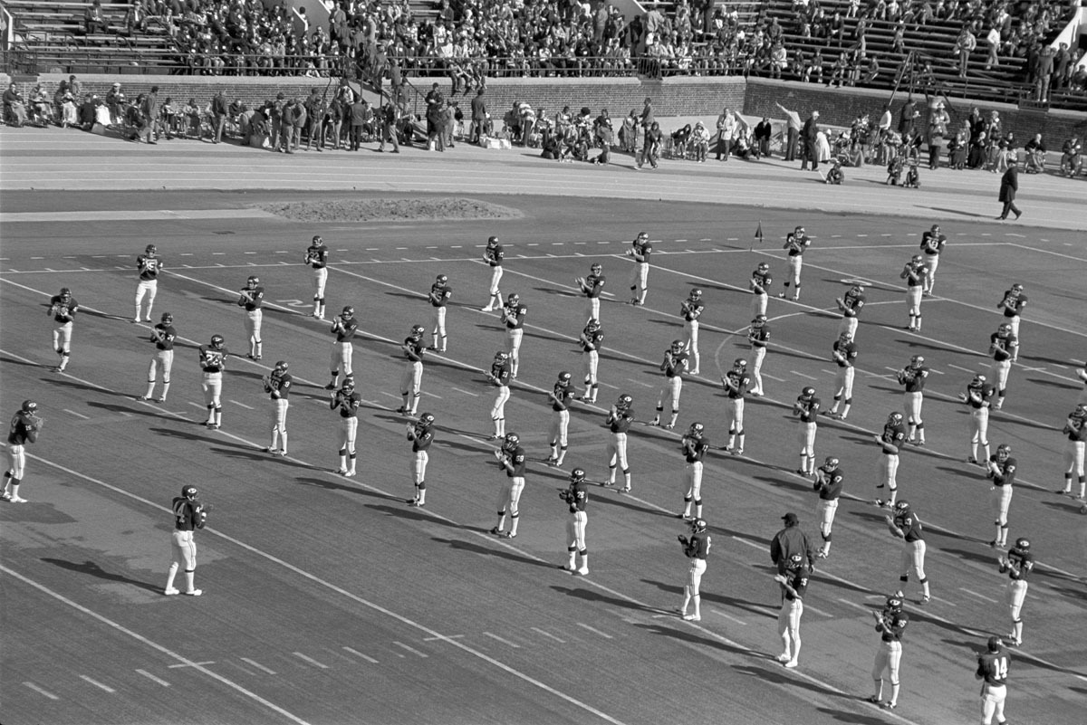 Penn Football Team during Warmup, Franklin Field, Philadelphia, PA, November 1973 (large view)