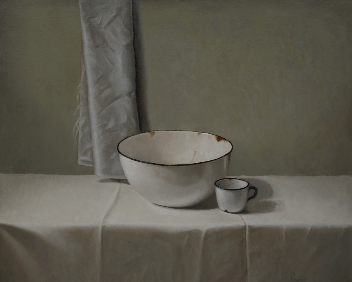 ENAMEL BOWL with GRAY SILK (large view)