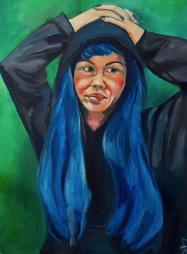 Whitney in Blue Wig