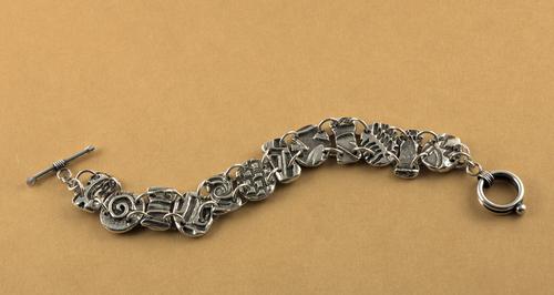 Textured Fine Silver Link Bracelet