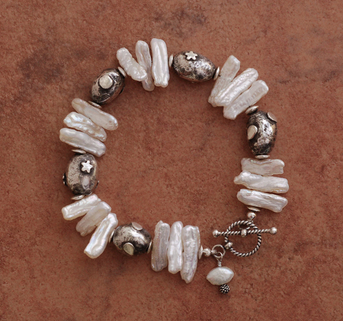 Handcrafted Fine Silver Beads and Pearl Bracelet