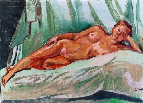 Reclining Nude - Christine on Green (large view)