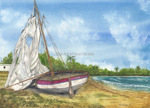 "Refugee Boat ""Caira"" Key West Florida by The Art of Stan Straley"