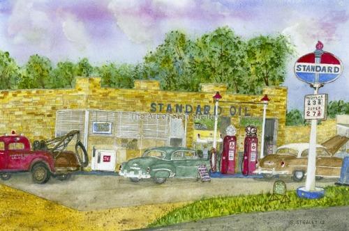Painting Quot Navarre Standard Oil Station 1954 Quot Original