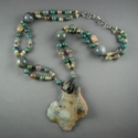 Shelia Logan Designs, Necklace, Aquamarine, Grey Agate, Sterling Silver, Chrysocolla, Gunmetal accents, Handmade, One Of A Kind, United States (thumbnail)