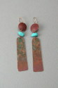 "Shelia Logan Designs, Patina, Patina Copper with Turquoise nuggets and 14kt. Gold-filled ear wires , 2 1/2"" (thumbnail)"