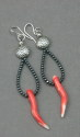 "Shelia Logan Designs, Coral Horns, Momo Coral, Hematite and Sterling silver accents and ear wires. 2 3/4"" (thumbnail)"