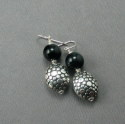 Shelia Logan Designs, Onyx & Sterling, Black Onyx Rounds with Sterling accents and ear wires. (thumbnail)