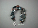 Shelia Logan Designs, Bracelet, Blue Pietersite, Sterling nuggets, Sterling Clasp, Jewelry, Handmade, One of a kind, United States, Unique, semi-precious stones (thumbnail)
