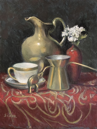 Brass Pitcher with Cup by Stephanie Cook Fine Art