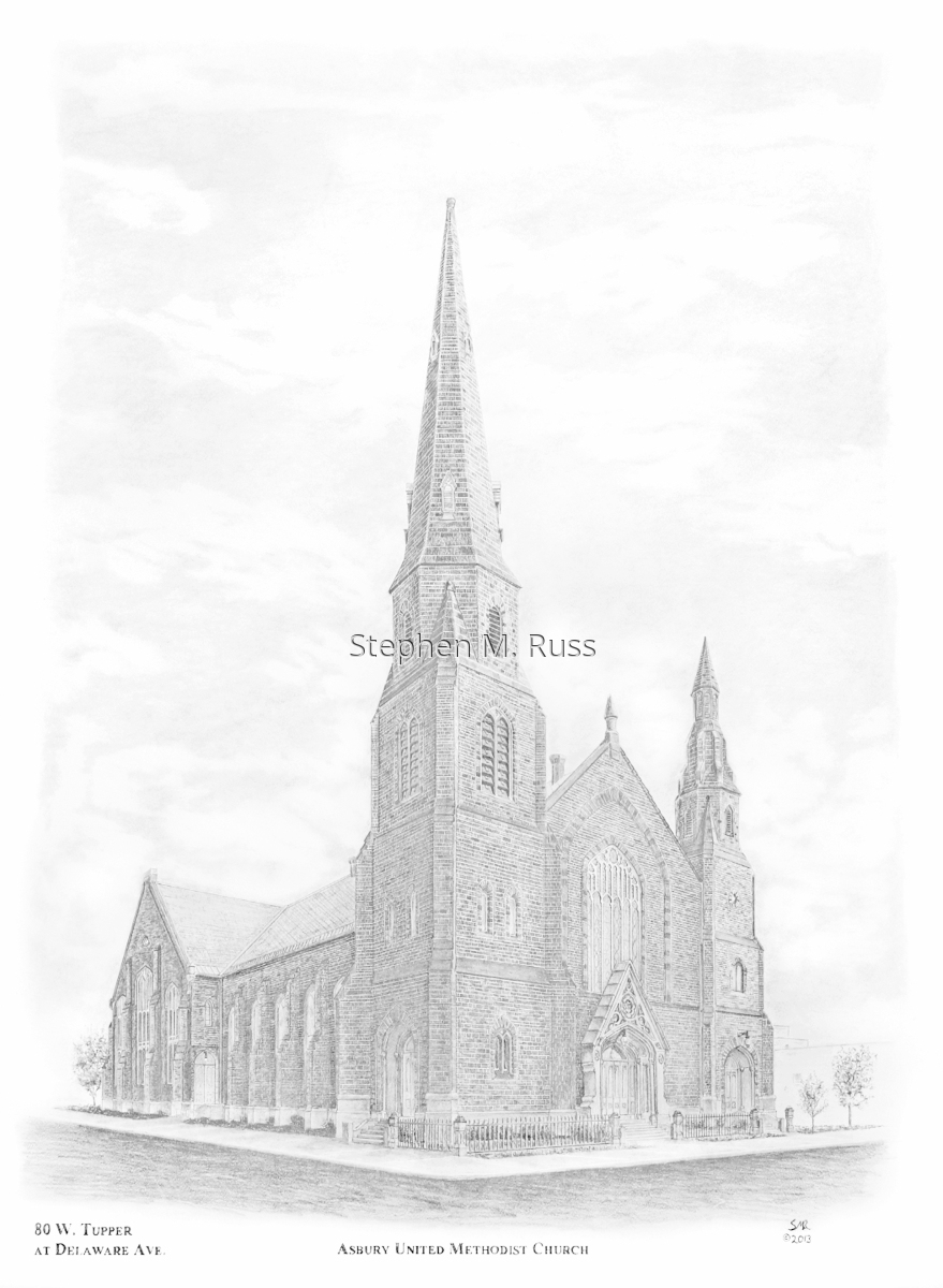 Graphite pencil drawing of Asbury United Methodist Church in buffslo, NY (large view)