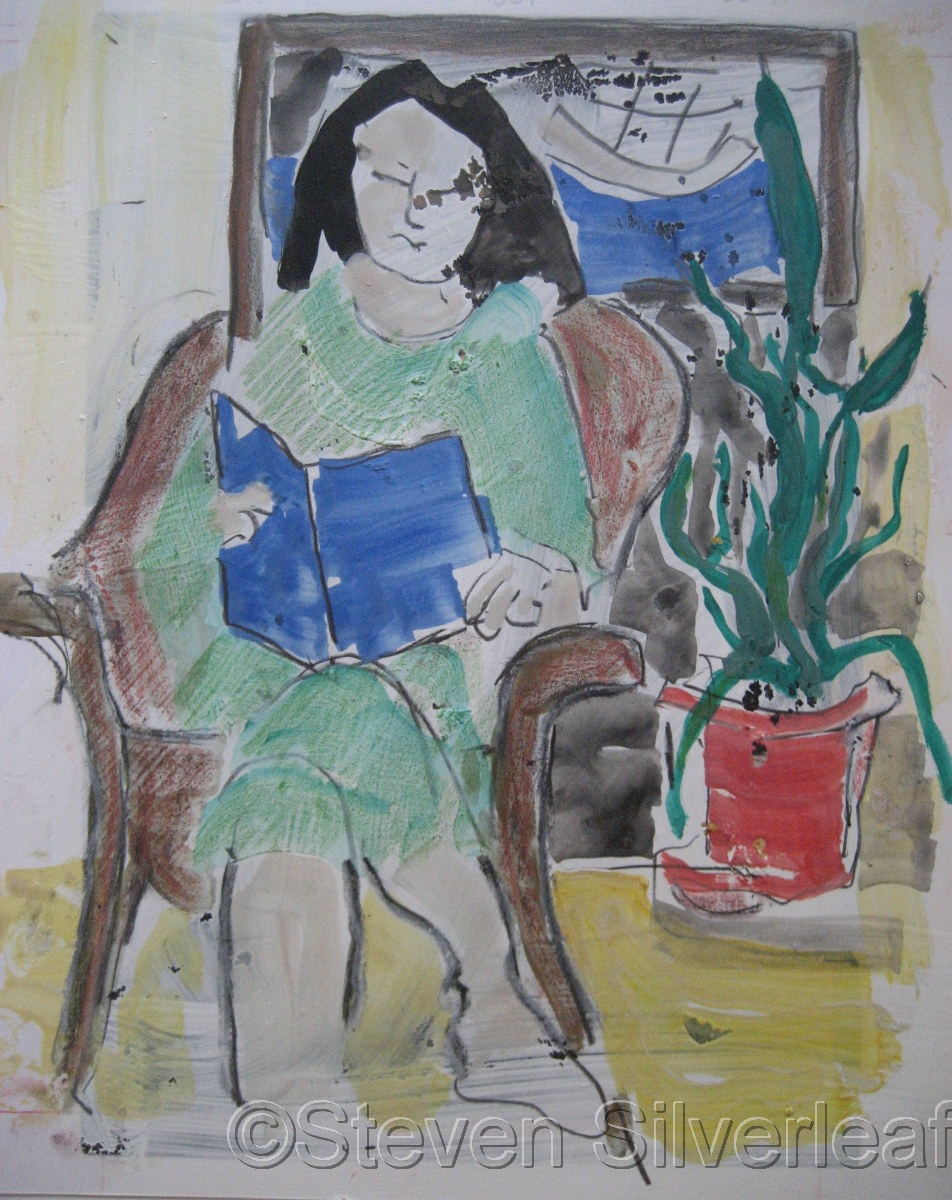 a women reading drawn and painted in small format (large view)