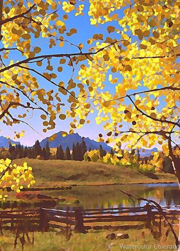 Aspen leaves, Blue sky