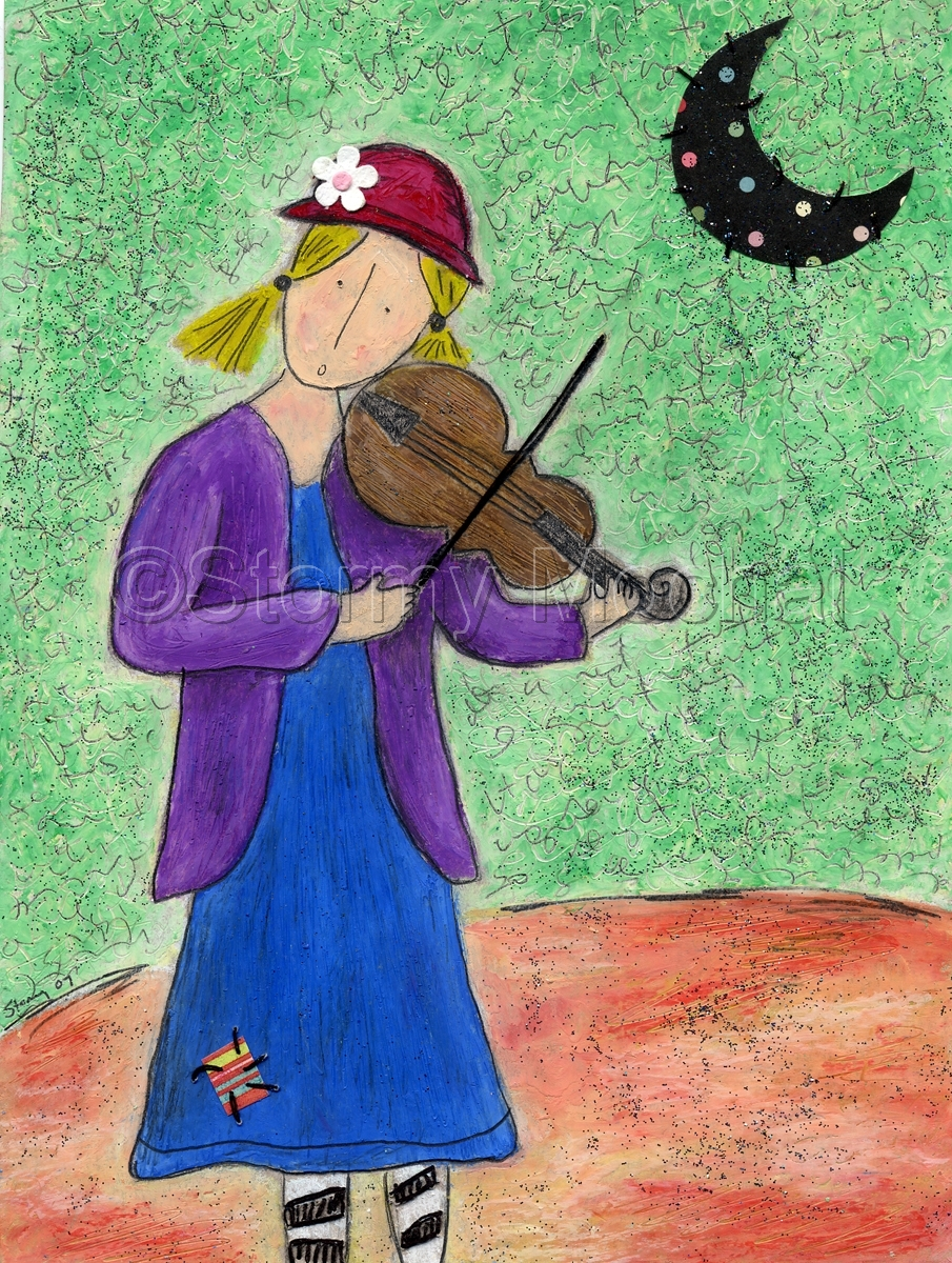 Reproduction of an original mixed media piece featuring a girl playing a fiddle under a paper moon.   (large view)