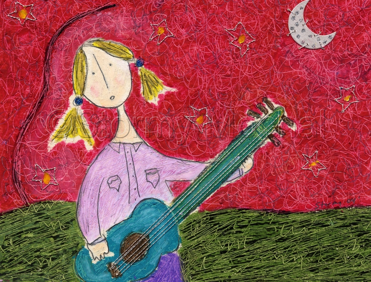 Reproduction of an original mixed media piece featuring a blond girl playing a turquoise guitar. (large view)