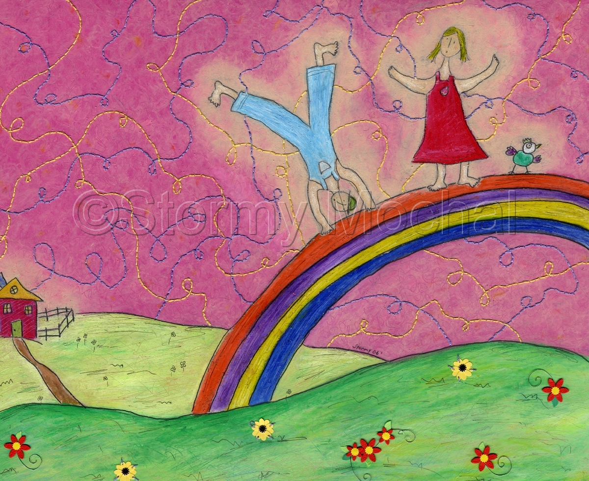 Reproduction of an original mixed media piece depicting a boy, girl , and a bird dancing on a rainbow (large view)