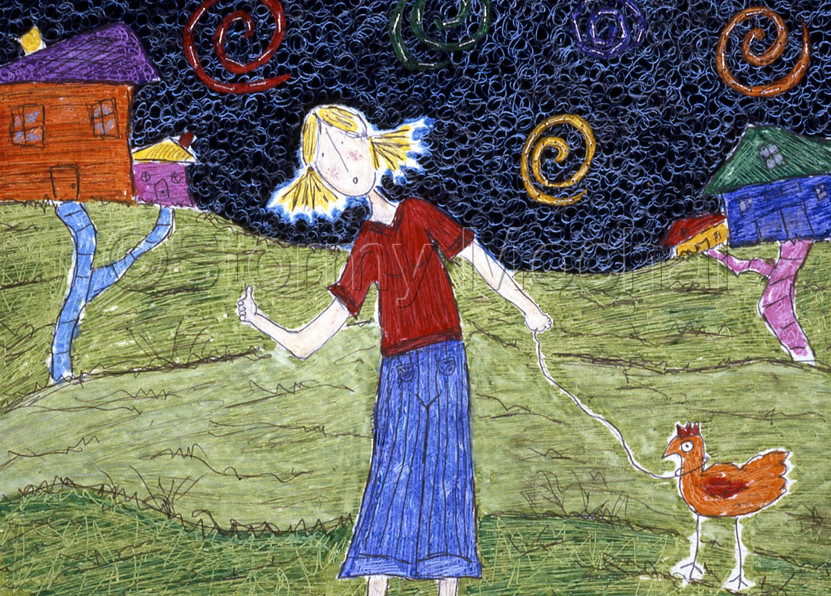 Reproduction of an original mixed media piece featuring a blonde woman holding a chicken on a leash. (large view)