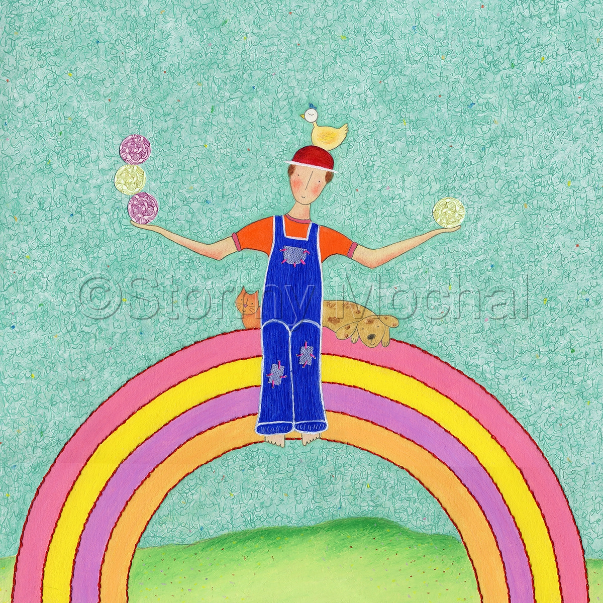 A farmer sits on a rainbow holding cabbages with a chicken on his head.  A cat and dog rest beside him.   (large view)