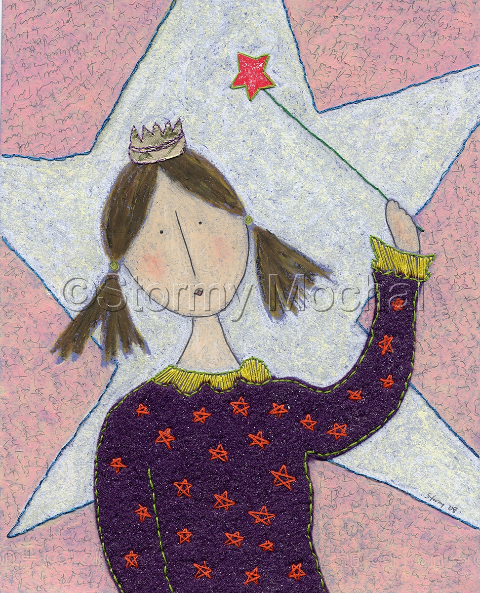 Original mixed media piece featuring a girl in a purple felt shirt hand embrodied with orange stars and yellow trim.  She is wearing a gold crown and holding a magic wand.  (large view)