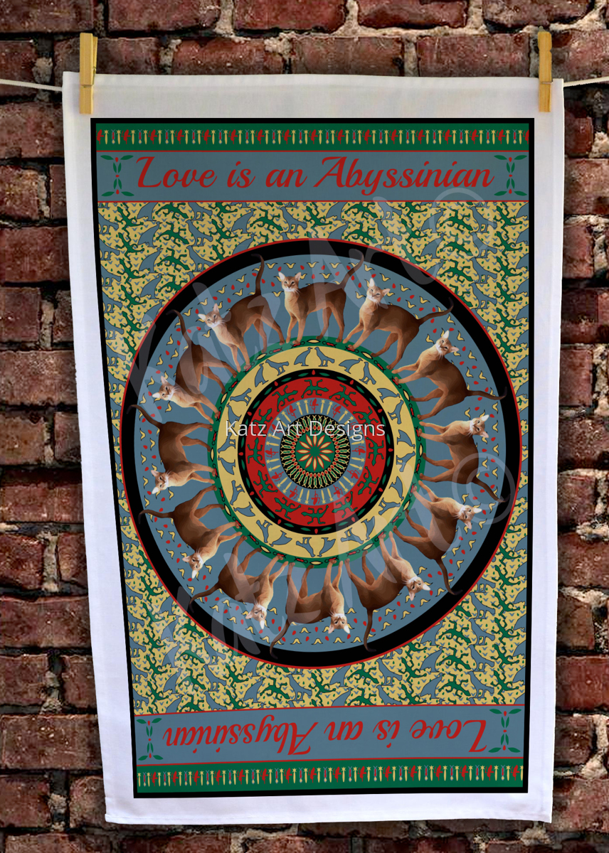 'Love is an Abyssinian' Boutique Teatowel (large view)