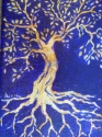 Study for the Tree of life in gold and bronze leaf with Oils. (thumbnail)