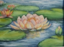 Magnificent pink Waterlilies painted in watercolor media. (thumbnail)