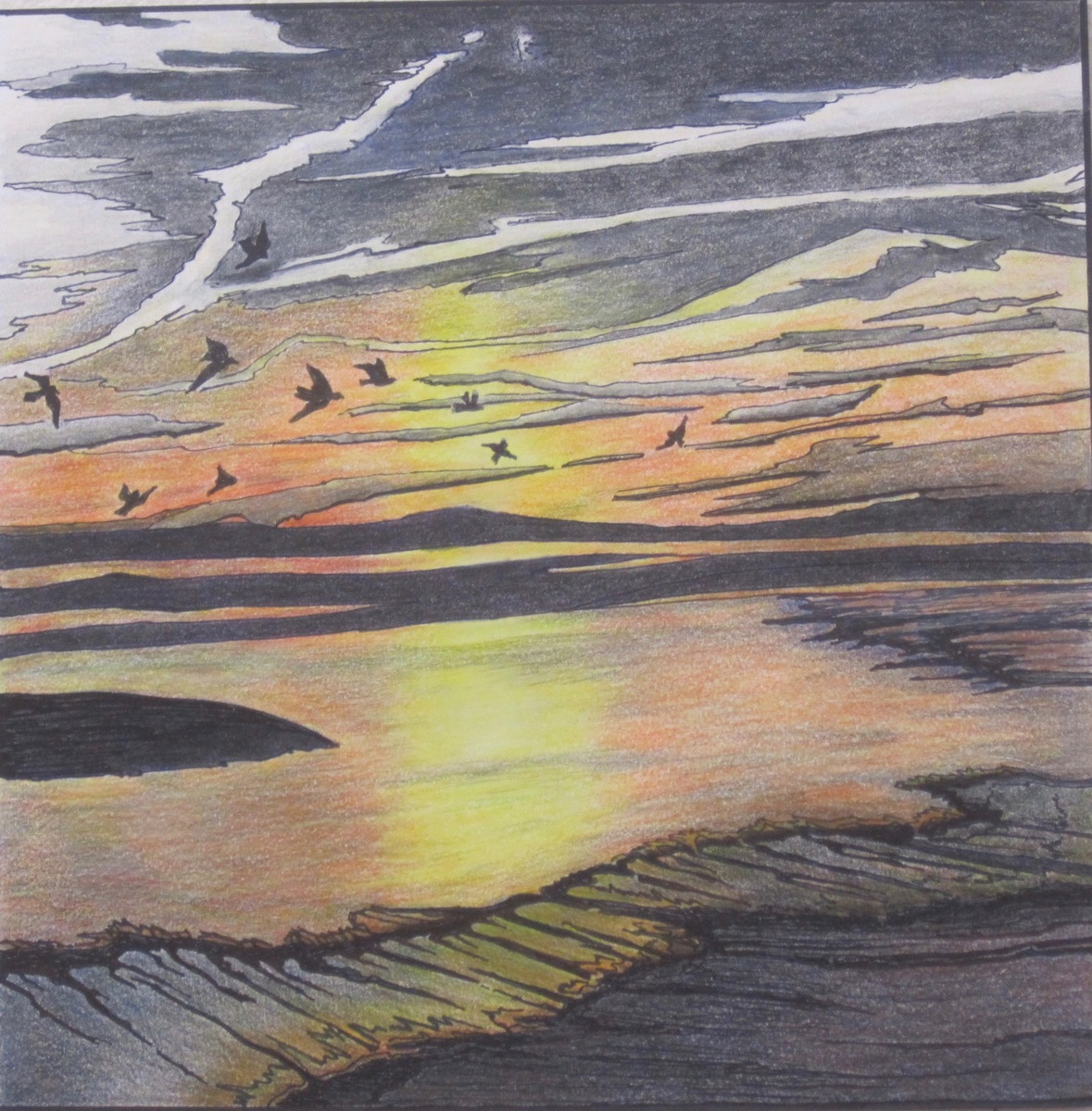 Marine colored pencil drawings sunset over water by susanjohnson