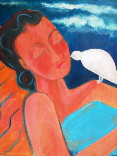 Nap at the Beach with Dove by Susan Grice