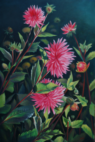 On the Vineyard - Karen's Dahlias II by Susan Sinyai