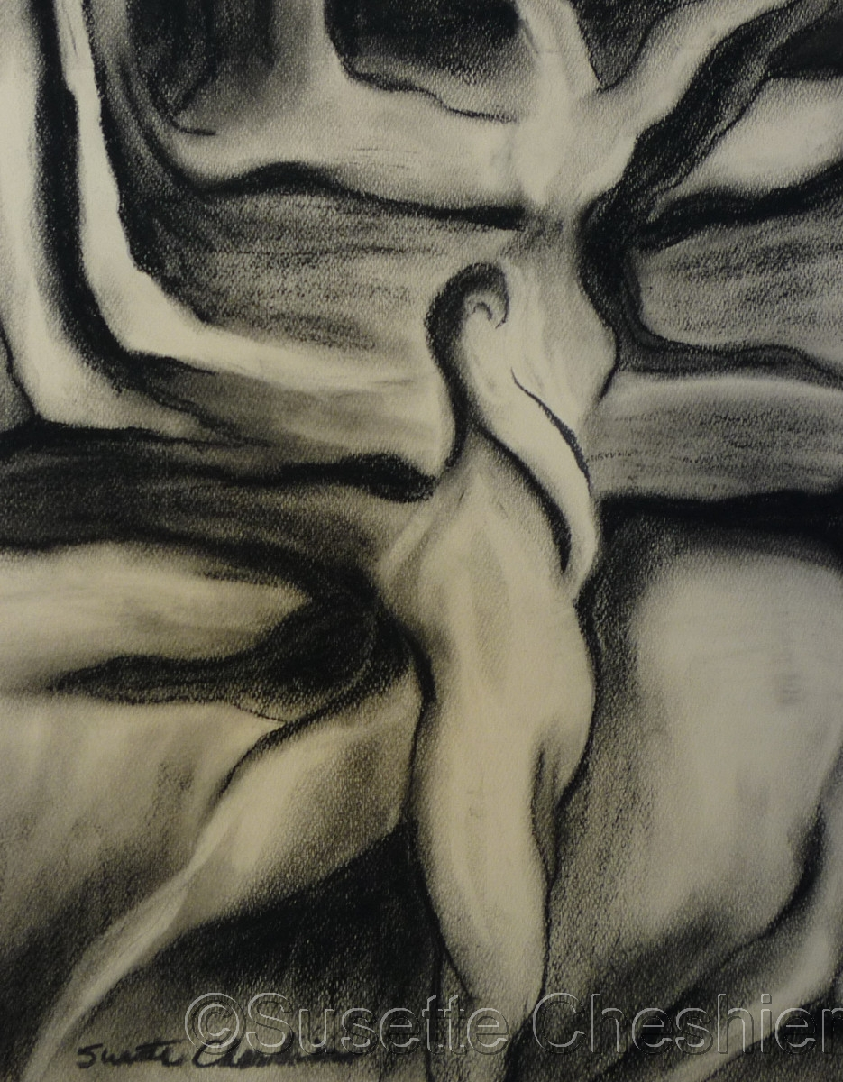 Charcoal figure of Woman #1 (large view)