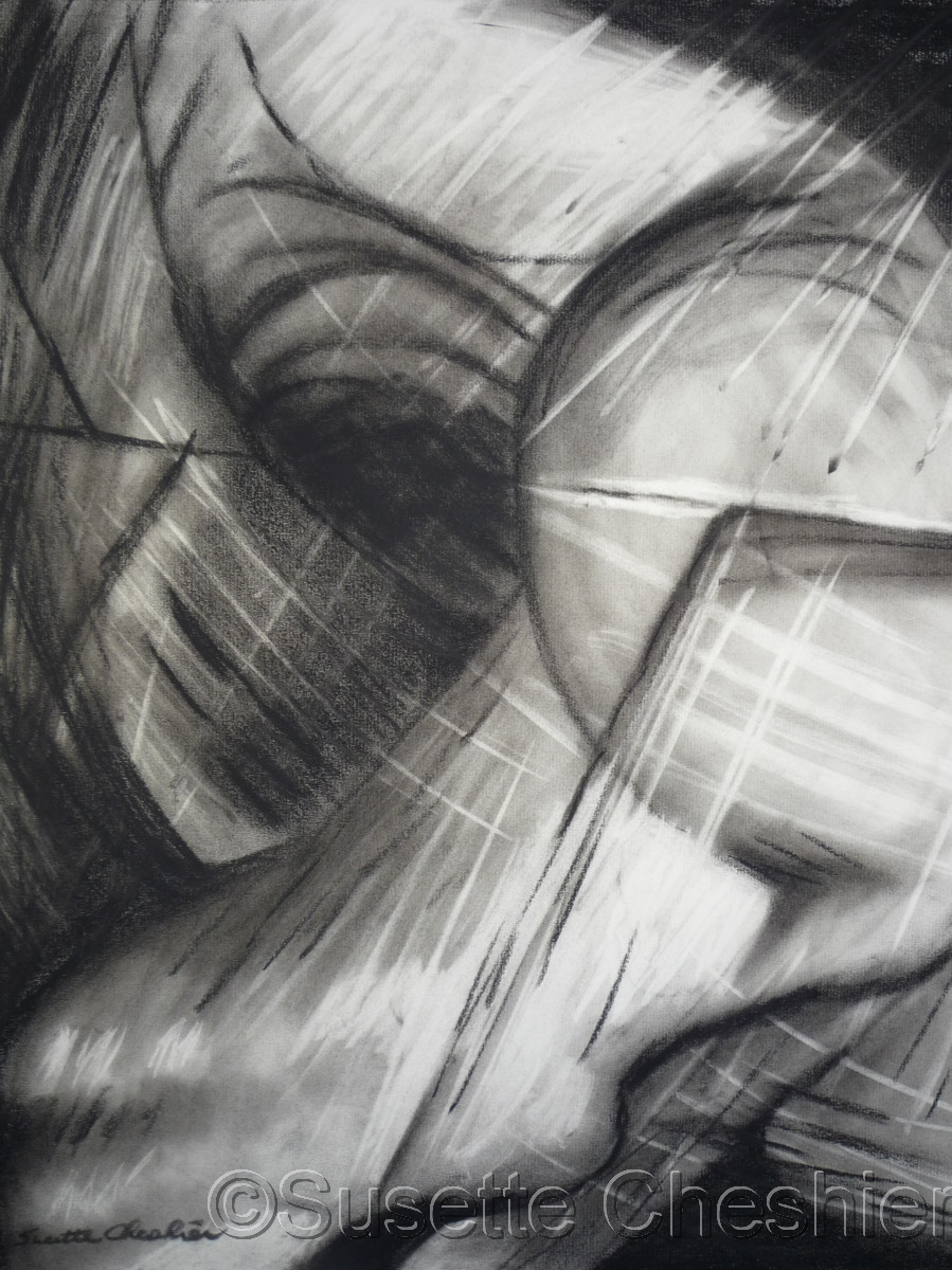 Abstract Charcoal on Paper of White, Grey and Black No. 1 (large view)