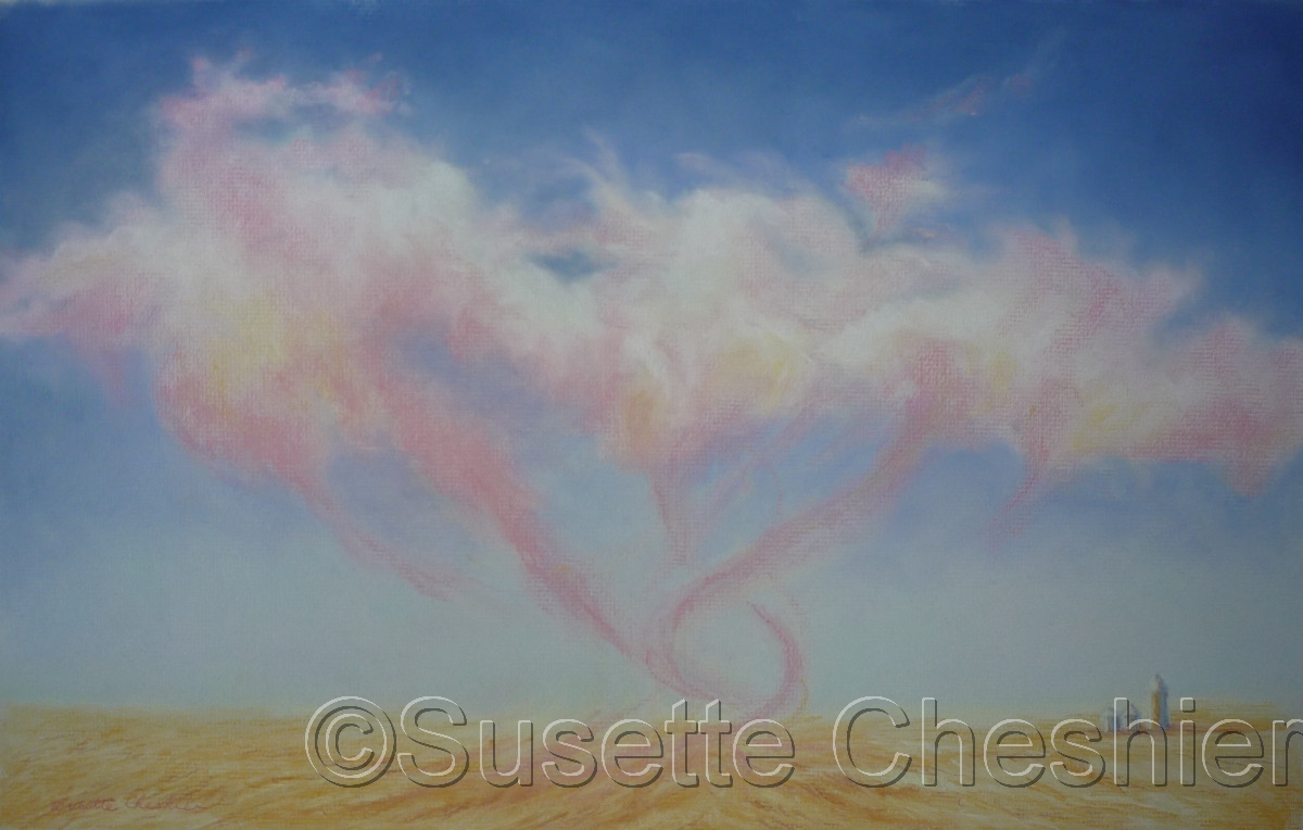 Pink Swirl Cloud Over Wheat Field (large view)