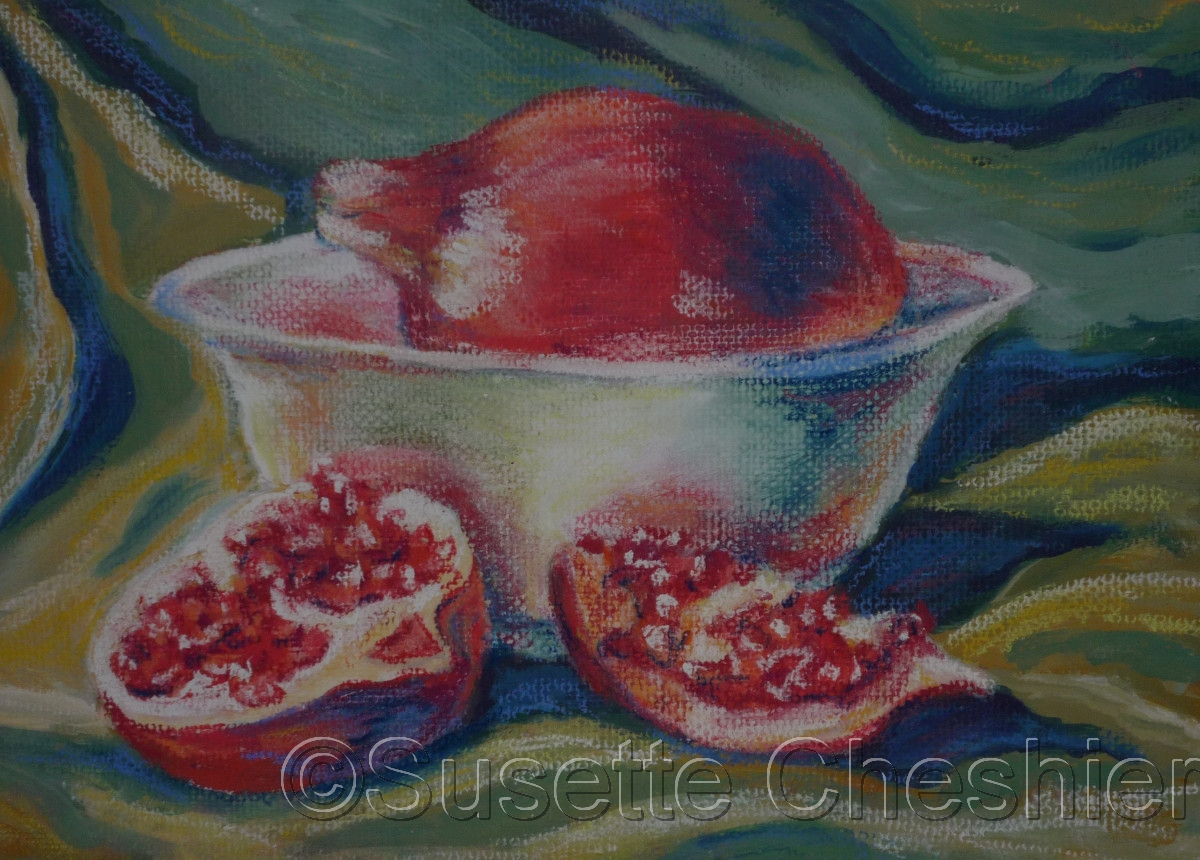 """Pomegranates and Bowl"" (large view)"