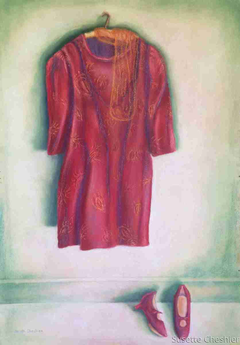 The Red Velvet Dress with Shoes (large view)