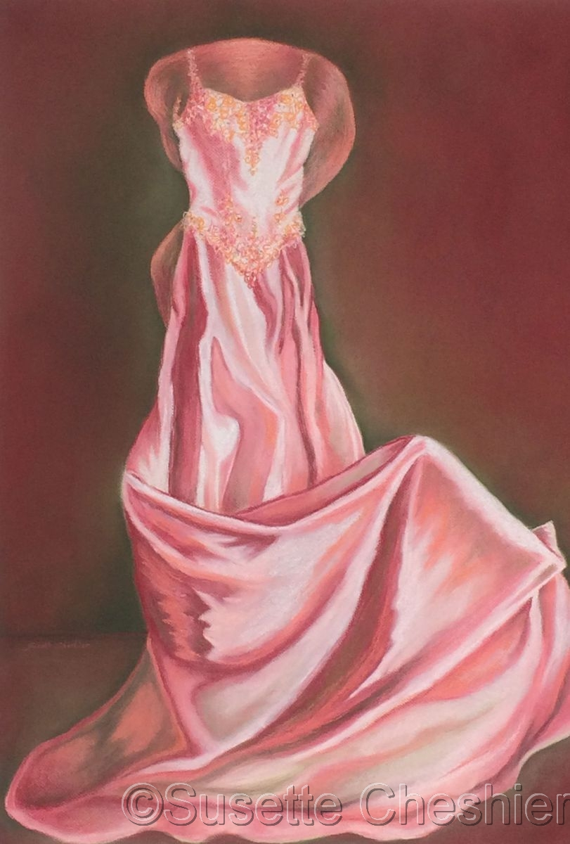 Pink Wedding Dress with Scarf (large view)
