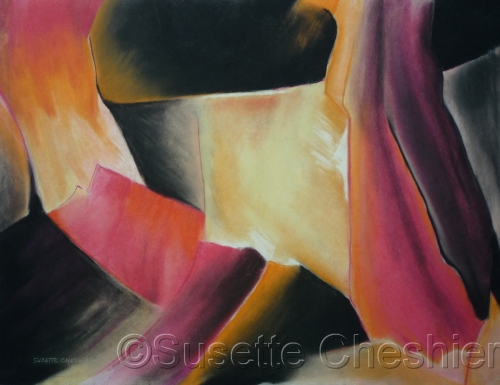 Yellow, pink, orange and black abstract by Susette Cheshier